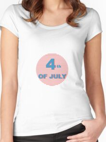 American Independence Day lettering design. A template background for greeting cards, posters, leaflets and brochure. Women's Fitted Scoop T-Shirt
