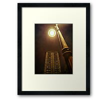 Night with street lamp and building Framed Print