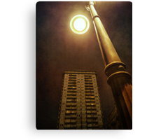 Night with street lamp and building Canvas Print