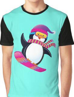 Cute Penguin Snowboarding Graphic T-Shirt