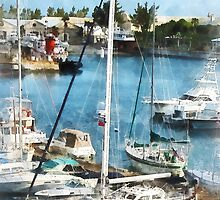 Boats at King's Wharf Bermuda by Susan Savad