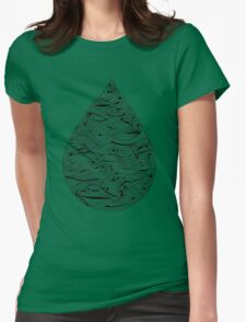 Water Drop – Black Ink Womens Fitted T-Shirt