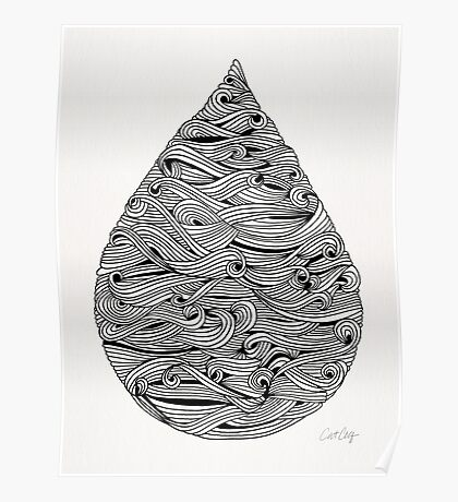 Water Drop – Black Ink Poster