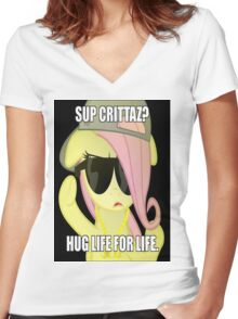Hug Life - Fluttershy Women's Fitted V-Neck T-Shirt