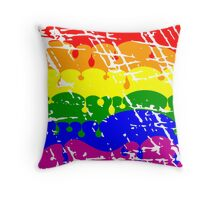 Rainbow Dripping Paint Distressed  Throw Pillow