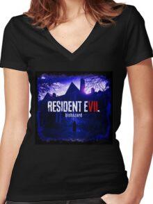 Resident Evil 7 Biohazard Blue Women's Fitted V-Neck T-Shirt