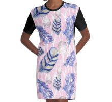 Feathers and Spotted Eggs woodland nature pattern Graphic T-Shirt Dress