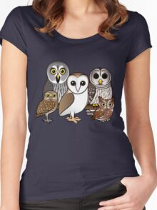 Five Cute Owls by Birdorable Women's Fitted Scoop T-Shirt