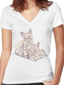 Two Mighty Kittens Women's Fitted V-Neck T-Shirt
