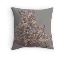 Two Mighty Kittens Throw Pillow