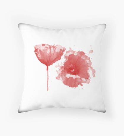 poppy on white Throw Pillow