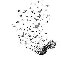 spilt ink into birds by AnchorArt