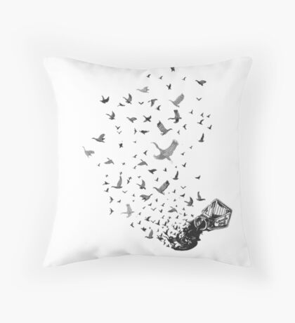 spilt ink into birds Throw Pillow