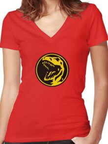 Mighty Morphin Power Rangers Red Ranger Symbol Women's Fitted V-Neck T-Shirt
