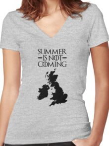 Summer is NOT coming - UK and Ireland(black text) Women's Fitted V-Neck T-Shirt