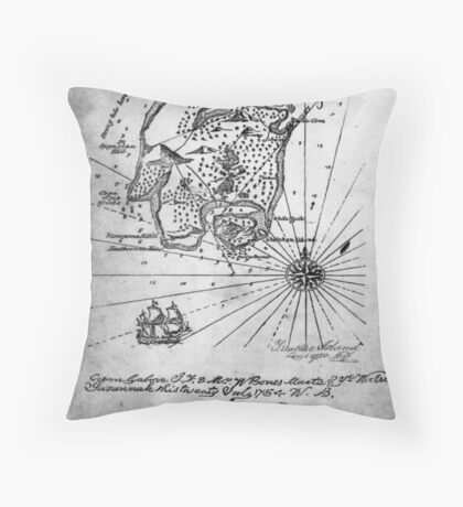 Old style map Throw Pillow