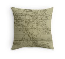 Old style world of moses map Throw Pillow