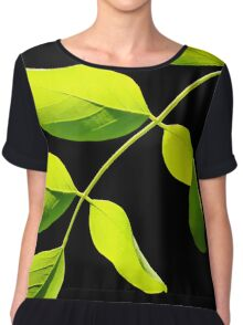 Lime Leaves on Black Chiffon Top