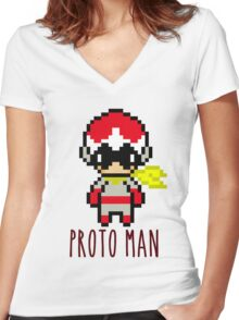 Proto Man Women's Fitted V-Neck T-Shirt