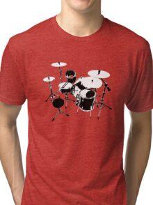 Drumkit (back view) Tri-blend T-Shirt