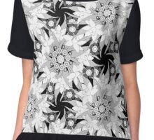 Black and white seamless floral pattern.  Chiffon Top