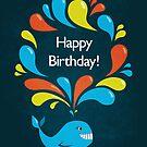 Happy Cartoon Whale Birthday Card by Boriana Giormova