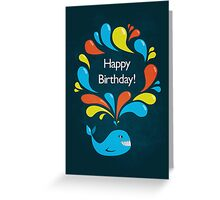 Happy Cartoon Whale Birthday Card Greeting Card