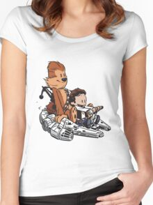 Chewie And Han Calvin And Bobbes Women's Fitted Scoop T-Shirt