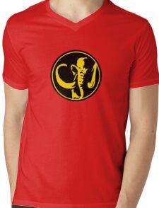 Mighty Morphin Power Rangers Black Ranger Symbol Mens V-Neck T-Shirt