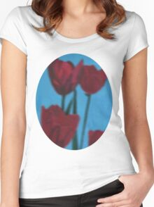 tulips in the fog Women's Fitted Scoop T-Shirt