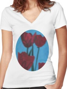 tulips in the fog Women's Fitted V-Neck T-Shirt