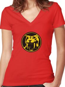 Mighty Morphin Power Rangers Yellow Ranger Symbol Women's Fitted V-Neck T-Shirt