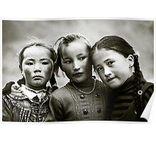 Young Kazakh girls at festival, Bayan Ulgii, Mongolia Poster