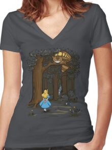 My Neighbor in Wonderland (Army) Women's Fitted V-Neck T-Shirt