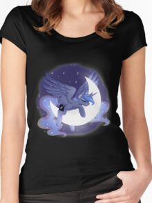 Luna Sleeping on Moon Women's Fitted Scoop T-Shirt