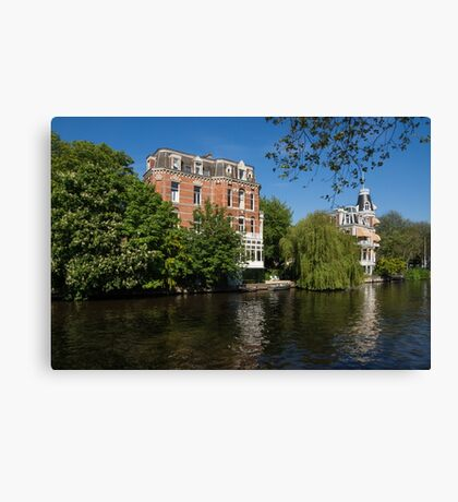 Amsterdam Canal Mansions - Floating By on a Boat Canvas Print