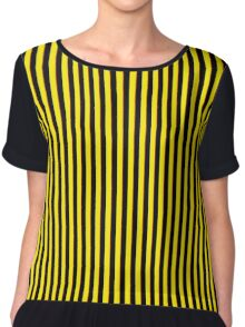 Vertical Stripes Yellow Black and Red Chiffon Top