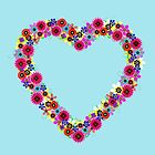 Floral Heart Wreath by Valerie  Fuqua