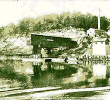 A digital painting of the Alicia Mines, Pittsburgh Steel Co, Monongahela River 1919 by Dennis Melling