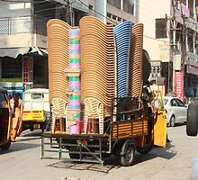 Stacked Chairs Begum Bazaar by Andrew  Makowiecki