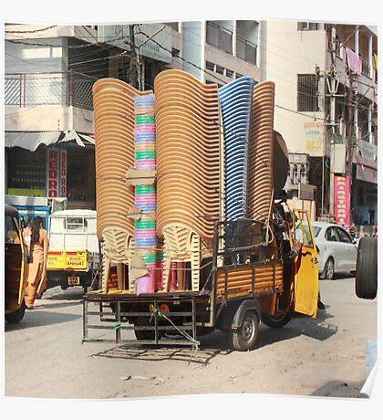 Stacked Chairs Begum Bazaar Poster