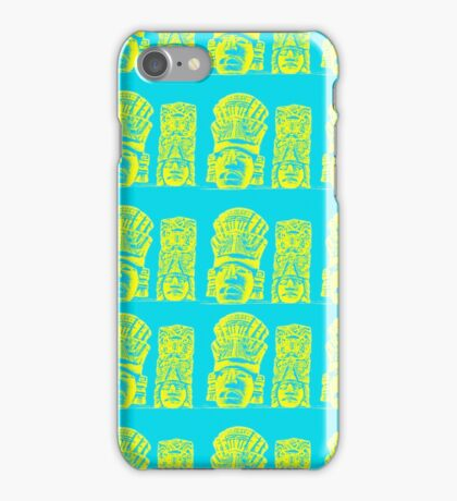 Mayan pattern on a bright blue background  iPhone Case/Skin