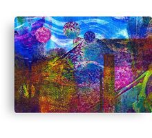 Making Planets Collaged Monoprint Canvas Print