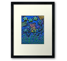 Polymer Clay Whimiscal Flowers Stars and Butterflies Framed Print
