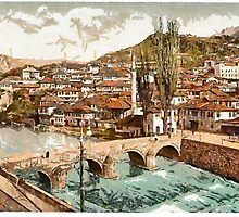 A digital painting of  Sarajcvo (Sarajevo), looking towards Alifakovak, Bosnia, Austro-Hungarian Empire 19th century by Dennis Melling