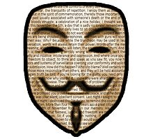 Anonymous - V for Vendetta Photographic Print