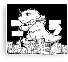 Cute Godzilla Smashes Tiny Tokyo Canvas Print