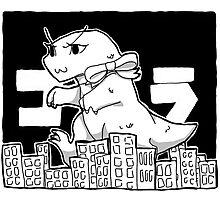 Cute Godzilla Smashes Tiny Tokyo Photographic Print