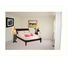 To dispel the idea I never listen to you-SURPRISE..here's that mammory foam mattress you wanted. Art Print