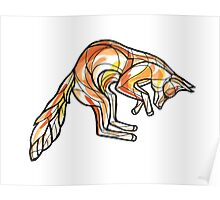 Geometric Leaping Fox Poster